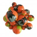 Cuentas de madera - Buho - Naranja y negro Babachic/Moodywood