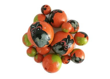 Cuentas de madera - Buho - Naranja y negro
