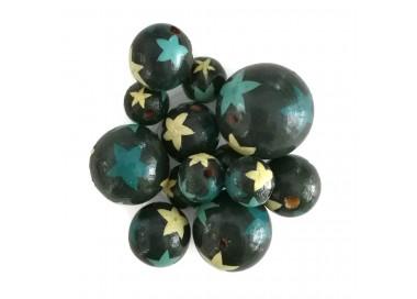Cuentas de madera - Estrellas - Azul
