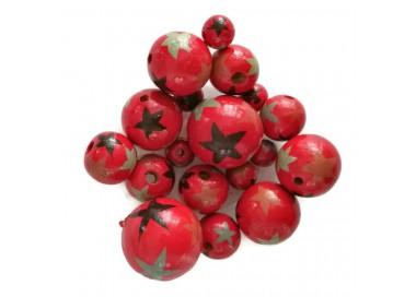 Cuentas de madera - Estrellas - Rojo, negro y gris