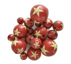 Cuentas de madera - Estrellas - Rojo