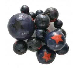 Cuentas de madera - Estrellas - Azul marino, naranja y negro