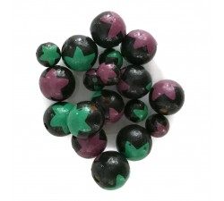 Cuentas de madera - Estrellas - Negro, morado y verde