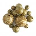 Cuentas de madera - Espirales - Dorado