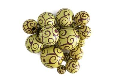 Cuentas de madera - Espirales - Amarillo, berenjena