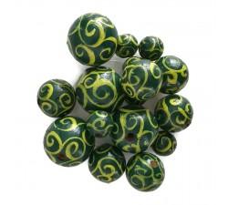Cuentas de madera - Espirales - Verde y amarilo