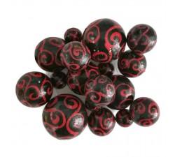 Cuentas de madera - Espirales - Negro y rojo