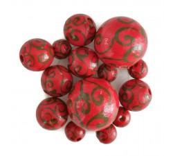 Cuentas de madera - Espirales - Rojo