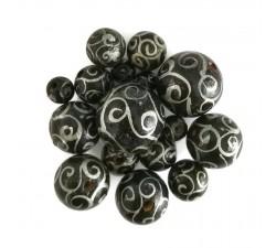 Cuentas de madera - Espirales - Negro