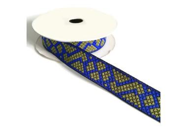 Cinta gráfica - Tetris - Azul y kaki - 25 mm