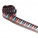 Cinta satinada y tejida - Backgammon - Rosa, azul, marrón y dorado - 35 mm