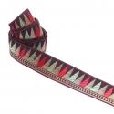 Cinta satinada y tejida - Backgammon - Rojo, verde, marrón y dorado - 35 mm