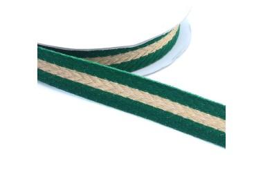 Galón tejido - Rayas - Verde pino y dorado - 18 mm