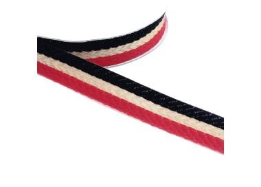 Galón tejido - Rayas - Rojo, negro y dorado - 18 mm