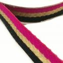 Galón tejido - Rayas - Fucsia, negro y dorado - 18 mm