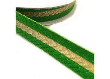 Galón tejido - Rayas - Verde y dorado - 18 mm