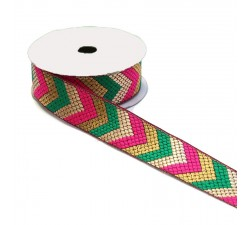 Ethnic satined ribbon - Green, pink and golden arrows - Babachic/Moodywood - 35 mm