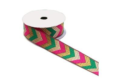 Cinta etnica satinada bordada - Flechas - Verde, rosa y dorado - 35 mm