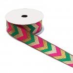 Cinta etnica satinada bordada - Flechas - Verde, rosa y dorado - Babachic/Moodywood - 35 mm