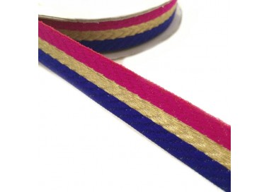 Galón tejido - Rayas - Fucsia, azul y dorado - 18 mm