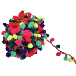 Galón Pompones XL - Multicolor 2 - Babachic/Moodywood - 45 mm