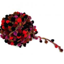 Galón Pompones XL - Rojo, marrón , rosa, azul obscuro y burdeos - Babachic/Moodywood - 45 mm