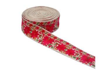 Bordado Indio - Flores - Rojo y beige - 50 mm