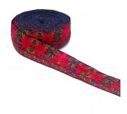 Bordado Indio - Flores - Rojo y azul marino - Babachic/Moodywood - 50 mm
