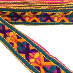 Bordado - Trébol - Azul, amarillo, morado, naranja y rosa - Babachic/Moodywood - 45 mm