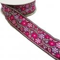 Cinta tejida - Flores - rosa y morado - 35 mm