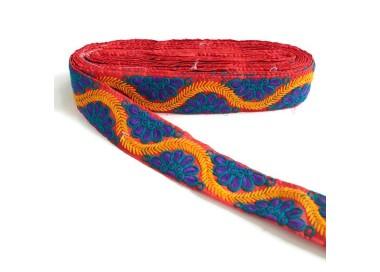 Bordado Indio - Bohemia - Morado, azul, amarillo y rojo - 45 mm