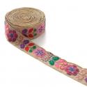 Pasamanería India - Gitano - Rojo, rosa, verde, marrón, morado y beige - 50 mm