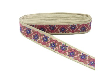 Pasamanería étnica - Jungla - Rosa, marrón, verde, azul y beige - 45 mm