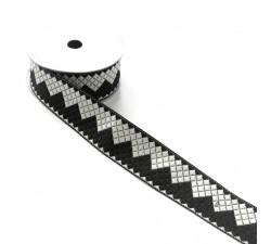 Cinta etnica satinada y bordada - Estilo Aztec - Negro y blanco - Babachic/Moodywood - 40 mm