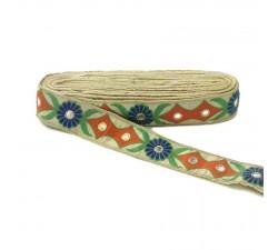 Bordado étnico - Tribal - Naranja, verde, azul, beige y dorado - Babachic/Moodywood - 40 mm