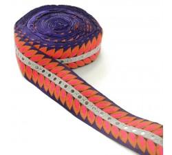 Bordado Indio - César - Naranja, rosa, blanco y azul - Babachic/Moodywood - 60 mm