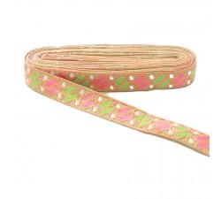 Bordado étnico - Dragibus - Salmón, rosa, verde y blanco - Babachic/Moodywood - 30 mm