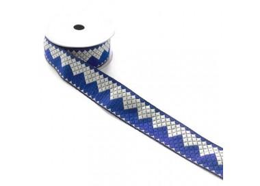 Cinta etnica satinada y bordada - Estilo Aztec - Azul y blanco - 40 mm
