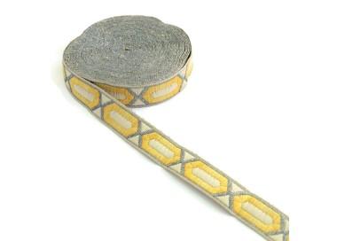 Galón tejido - Hexágono alargado - Amarillo, beige y plateado - 20 mm