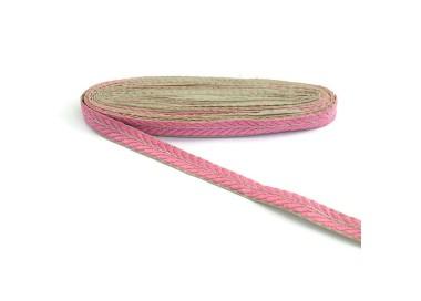 Galón bordado - Pétalos - Rosa y dorado - 20 mm