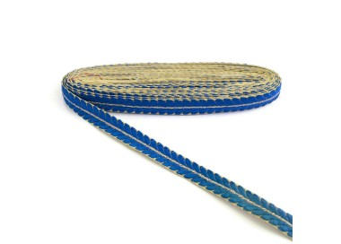 Galón bordado - Pétalos - Azul y dorado - 20 mm