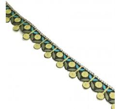 Bordado - Guirnalda de cereza - Amarillo, caqui y azul - Babachic/Moodywood - 25 mm