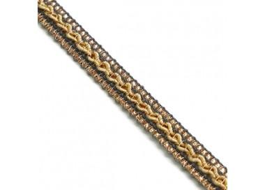 Galón étnico - Gris, beige y dorado - 10 mm