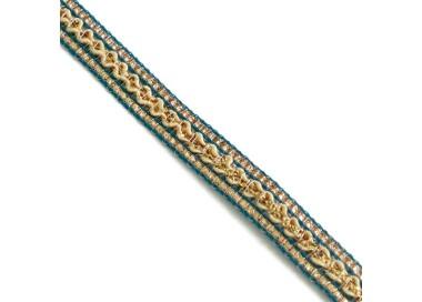 Galón étnico - Azul, beige y dorado - 10 mm