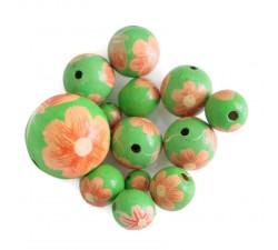 Cuentas de madera - Ballerina - Rosa y verde