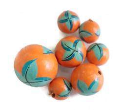 Cuentas de madera - Starfish - Naranja y azul
