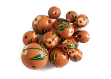 Cuentas de madera - Trille - Marrón terracotta