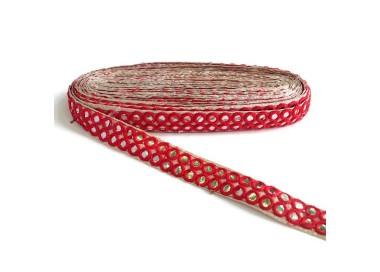 Galón espejos - Doble línea - Rojo - 30 mm