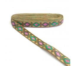 Bordado Indio - Rombos - Verde, rosa, gris y marrón - 30 mm - Babachic/Moodywood