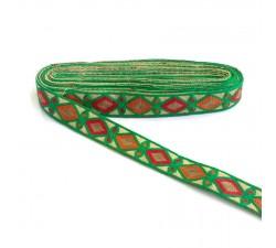 Bordado Indio - Rombos - Verde, rojo, amarillo y marrón - 30 mm - Babachic/Moodywood